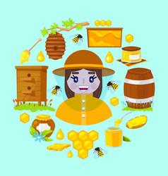 Beekeeper and objects of beekeeping vector