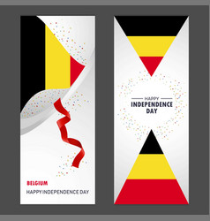 Belgium happy independence day confetti vector