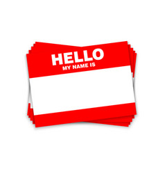 Blank template tag my name is red color vector