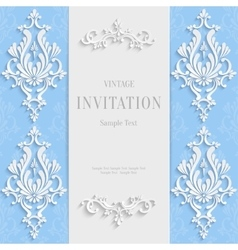 blue christmas vintage invitation card vector image