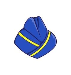 Blue forage cap of stewardess icon cartoon style vector image