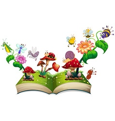 Book of insects in the garden vector