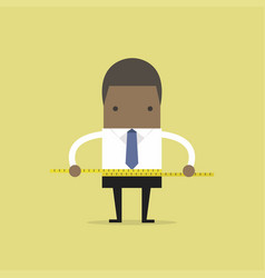 Businessman measuring his waist with measure tape vector