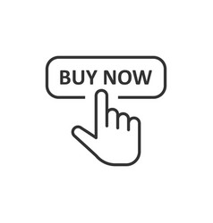 buy now shop icon in flat style finger cursor on vector image