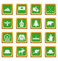 Canada travel icons set green vector