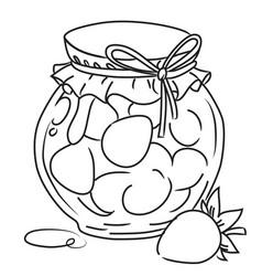 cartoon image of jar of strawberry jam vector image