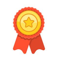 Championship winner trophy gold medallion award on vector