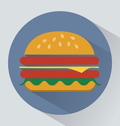 Cheeseburger with ham and salad leaves icon vector