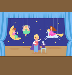 Child character play young school theatre flat vector
