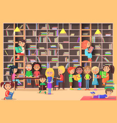 children read in library vector image