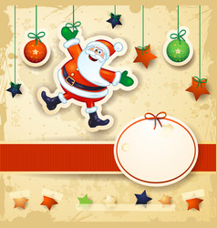 christmas background with happy santa and oval vector image