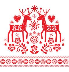 christmas design with reindeer flowers vector image