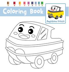 Coloring page amphibious vehicle cartoon vector