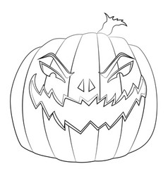 Coloring page for kids with halloween evil pumpkin vector
