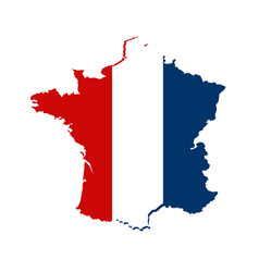 Contour map france in color national flag vector