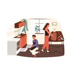 Couple preparing cookies or gingerbread at home vector