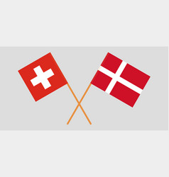 Crossed swiss and danish flags vector