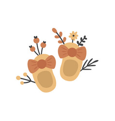 Cute baby shoes and flowers vector