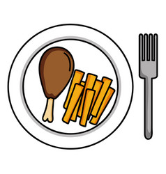 dish with chicken thigh and french frieds vector image
