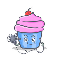 doctor cupcake character cartoon style vector image