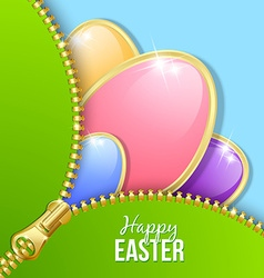 Easter eggs with zipper vector image