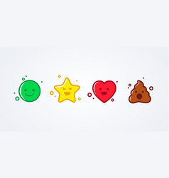 emoticons emoji smiley star heart and shit set vector image