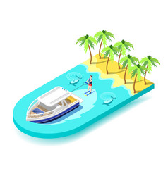 Extreme water sport isometric composition vector