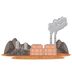 Factory building with smoke coming out vector