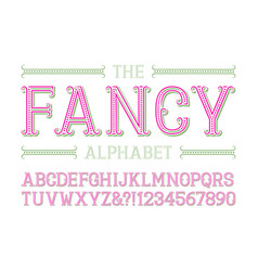 fancy alphabet with numbers in fashionable vector image