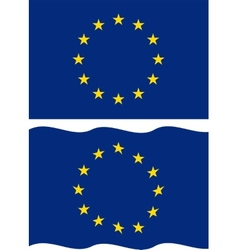 Flat and waving European Union Flag vector image