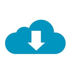 Flat color cloud download icon vector