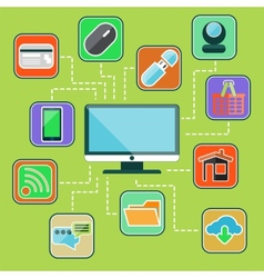 Flat design set with web computer mobile icons vector image