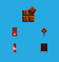 flat icon bitter set of sweet cocoa delicious vector image