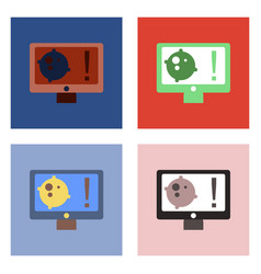 Flat icon design collection satellite and monitor vector