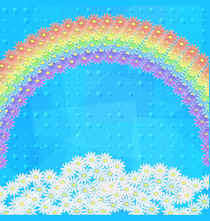 Flowers rainbow and sky vector