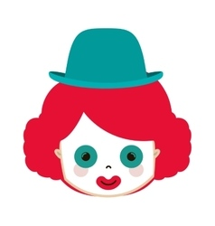 Front face funny small clown with hat vector