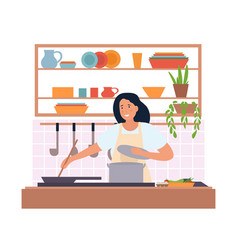 girl in apron cooking vector image