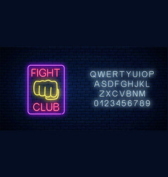 glowing neon fighting club sign in rectangle vector image