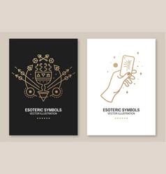Gold esoteric symbols thin line geometric vector