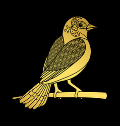 Gold zentangle bird vector