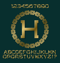 golden letters and numbers with initial monogram vector image