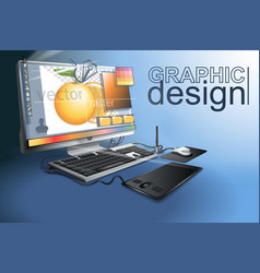 Graphic design is the work of professional artists vector