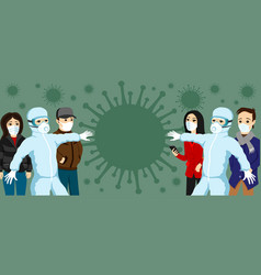 Group people and doctors in protective masks vector
