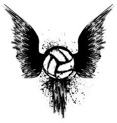 grunge volleyball with wings vector image