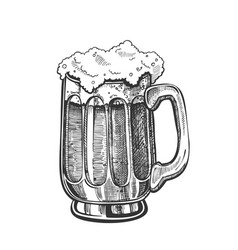 hand drawn mug with froth bubble light beer vector image