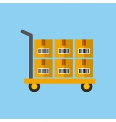 handcart with boxes vector image