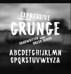 Handwritten brush font in grunge style vector