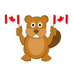 happy beaver holding canadian flags vector image