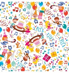 Happy Birthday kids party pattern 4 vector image