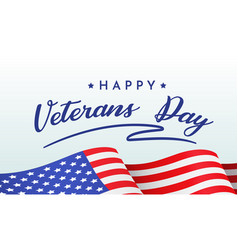 Happy veterans day banner with congratulations vector